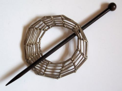 Jul Spider web shawl pin with a rosewood pin Was £21.00